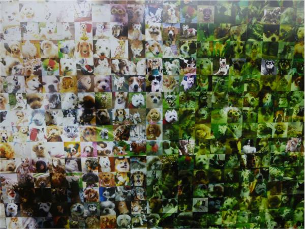 近づいて見ると、愛犬たちの写真で構成されている。