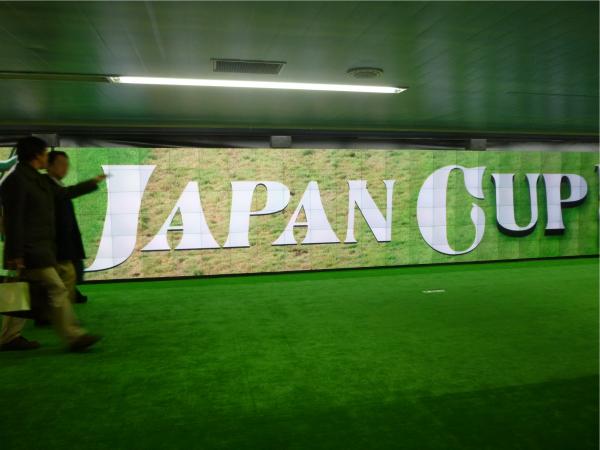 フロア一面に人工芝が敷きつけられると共に、壁面全体が大きなディスプレイとなり、音声も加わることで競馬場の臨場感を表現している。