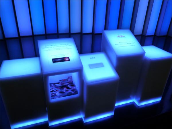 募金箱にコインを入れると、音とともにイルミネーションの色が様々に変化し光の演出がなされる。